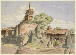 Buddhist temple, called Kathisambhu in the city of Kathmandoo - sketched from the N.W. corner of its Courtyard. November 1854
